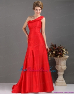 One Shoulder Pleated Red Discount Bridesmaid Dresses with Brush Train