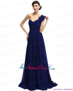 One Shoulder Ruffled Navy Blue Bridesmaid Dresses with Hand Made Flower