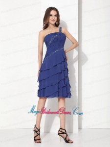 Romantic One Shoulder Knee Length Bridesmaid Dresses with Ruffled Layers