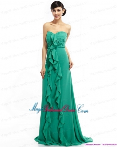Sweep Train Sweetheart Ruching Bridesmaid Dresses in Turquosie