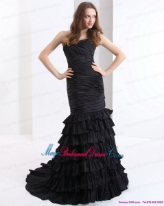 Unique Brush Train Pleated Black Bridesmaid Dresses with One Shoulder and Ruffled Layers