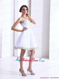 White Sweetheart Beaing Discount Bridesmaid Dresses with Appliques