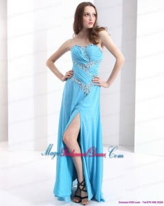 2015 New Arrival Affordable Sweetheart Ruching 2015 Bridesmaid Dresses with Beading and High Slit