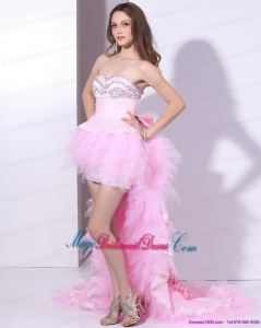 2015 New Arrival Baby Pink Ruffled Bridesmaid Dresses with Hand Made Flower and Beading