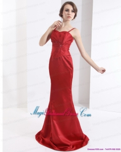 2015 New Arrival Brush Train Wine Red Bridesmaid Dress with Beading and Ruching