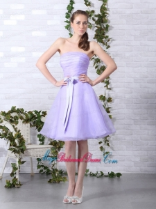 2015 New Arrival Lilac Strapless Ruching Mini Length Bridesmaid Dresses with Bowknot
