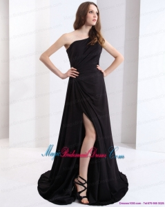 2015 New Arrival One Shoulder Black Bridesmaid Dress with Ruching and High Slit