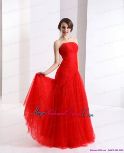 2015 New Arrival Strapless Floor Length Ruching Bridesmaid Dress in Red