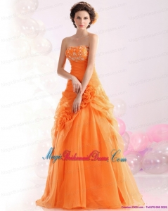 2015 New Arrival Strapless Orange Red Bridesmaid Dress with Hand Made Flowers and Beading