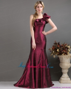 2015 Romantic Brand New One Shoulder Bridesmaid Dress with Brush Train