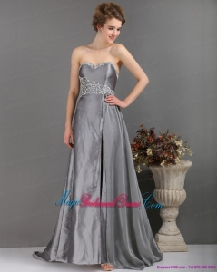 Romantic Brush Train Sliver Bridesmaid Dresses with Appliques and High Slip