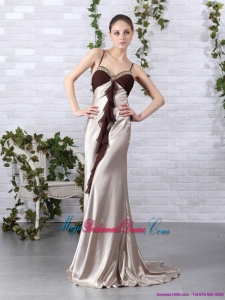 Romantic Multi Color Beading Long Bridesmaid Dresses with Backless and Brush Train