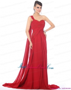 2015 Romantic Beading and Ruching Bridesmaid Dress with Watteau Train
