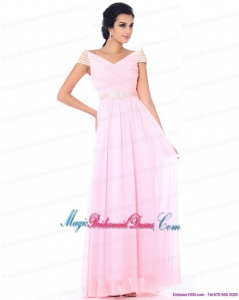 2015 Romantic Off the Shoulder Beading Bridesmaid Dress in Baby Pink