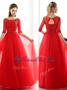 2016 See Through Scoop Half Sleeves Red Bridesmaid Dress with Lace and Belt