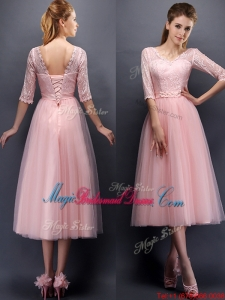2016 See Through V Neck Half Sleeves Bridesmaid Dress with Lace and Belt