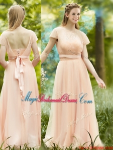 Elegant See Through Scoop Short Sleeves Juniors Bridesmaid Dress in Peach