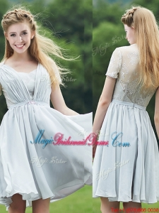 Elegant Sweetheart Short Sleeves Juniors Bridesmaid Dress with Belt and Lace