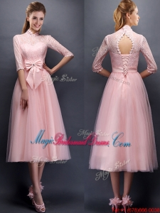 Luxurious Laced High Neck Half Sleeves Juniors Bridesmaid Dress with Bowknot