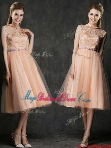 Popular High Neck Peach Juniors Bridesmaid Dress with Sashes and Lace