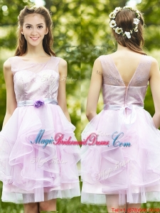See Through Scoop Short Juniors Bridesmaid Dress with Sashes and Ruffles