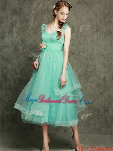 See Through Straps Juniors Bridesmaid Dress with Appliques and Hand Made Flowers