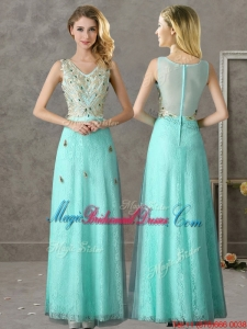 2016 Discount Beaded and Applique V Neck Bridesmaid Dress in Apple Green