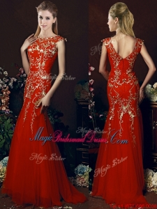 2016 Elegant Mermaid Red Bridesmaid Dress with Gold Sequined Appliques