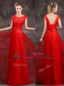 2016 Hot Sale Scoop Red Bridesmaid Dress with Beading and Appliques
