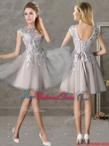 2016 Most Popular Bateau Cap Sleeves Grey Bridesmaid Dress with Lace