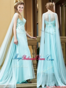 2016 Simple Bateau Applique Watteau Train Bridesmaid Dress in Light Blue