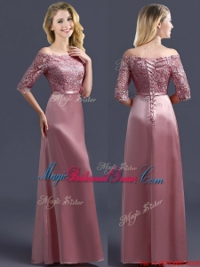 2016 Sweet Off the Shoulder Half Sleeves Bridesmaid Dress with Lace and Belt