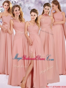 Best Selling Chiffon Peach Long Juniors Bridesmaid Dress with Ruching