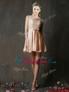 Best Selling Laced and Belted Short Juniors Bridesmaid Dress in Peach