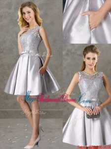 Classical Laced and Bowknot Scoop Juniors Bridesmaid Dress in Silver