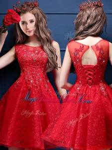 Classical Scoop Red Juniors Bridesmaid Dress with Appliques and Beading