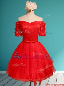 Comfortable Off the Shoulder Short Sleeves Red Juniors Bridesmaid Dress with Appliques and Belt