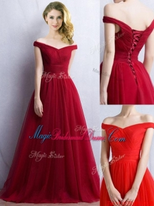 Elegant Off the Shoulder Cap Sleeves Juniors Bridesmaid Dress in Wine Red
