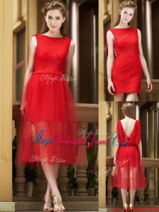 Exclusive Bateau Lace Tea Length Juniors Bridesmaid Dress in Red