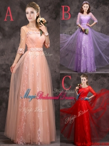 Exclusive See Through Scoop Applique and Laced Juniors Bridesmaid Dress with Half Sleeves
