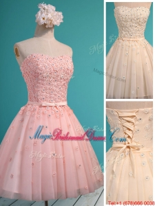 Exquisite Applique and Beaded Sweetheart Juniors Bridesmaid Dress in Mini Length
