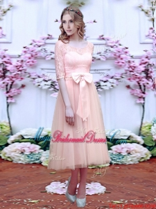 Fashionable See Through Scoop Half Sleeves Juniors Bridesmaid Dress with Bowknot