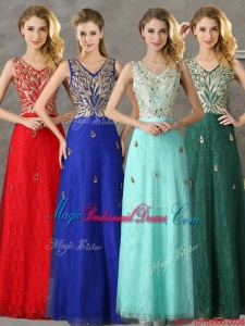 Fashionable V Neck Long Juniors Bridesmaid Dress with Appliques and Beading