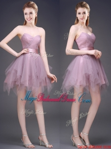 Hot Sale Lavender Short Juniors Bridesmaid Dress with Ruffles and Belt