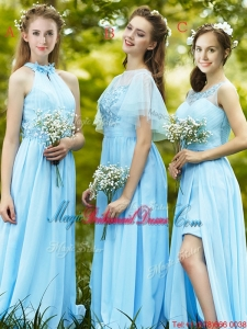 Modest Light Blue Empire Long Juniors Bridesmaid Dress with Appliques
