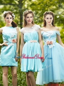 Most Popular Light Blue Juniors Bridesmaid Dress with Appliques for Spring