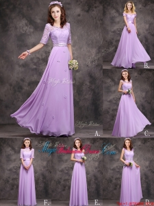 Perfect Applique and Laced Lavender Long Juniors Bridesmaid Dress in Chiffon