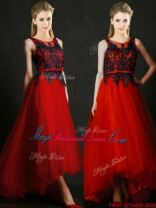 Perfect High Low Belted and Black Applique Juniors Bridesmaid Dress in Red