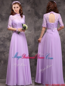Perfect High Neck Handcrafted Flowers Juniors Bridesmaid Dress with Half Sleeves
