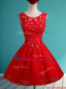 Popular Scoop Red Short Juniors Bridesmaid Dress with Beading and Appliques